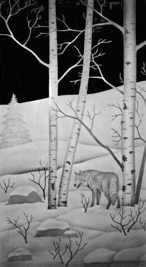 Wolf and birch trees
