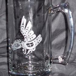 etched beer mug with NW Indian design