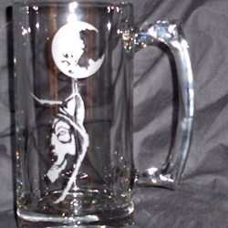 etched beer mug with wolf and moon design